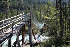 The suspension bridge leading into the Whitehorn campsite