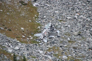 Even with a zoom lens the wreckage looked small from a distance.
